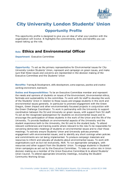 Ethics and Environmental Officer - City University London Students