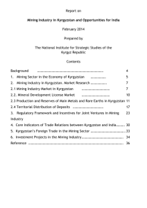 Report on Mining Sector in Kyrgyzstan