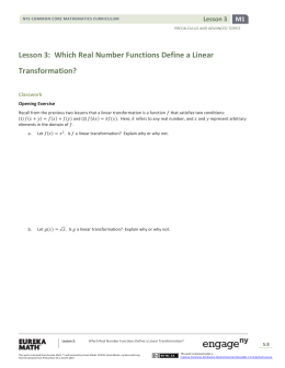 Lesson 3: Which Real Number Functions Define a Linear