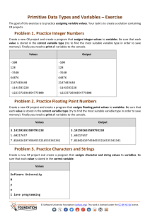 Primitive Data Types and Variables – Exercise