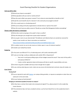 Event Planning Checklist for Student Organization
