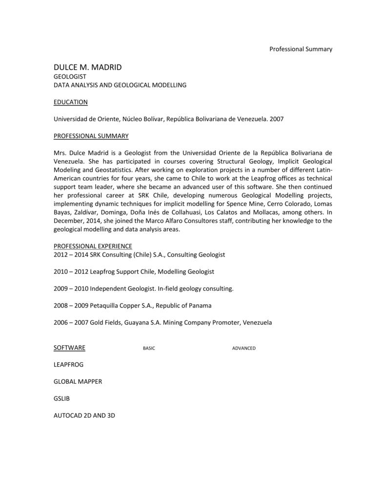 Professional Summary DULCE M. MADRID GEOLOGIST DATA