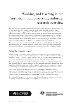 Working and learning in the Australian meat processing industry