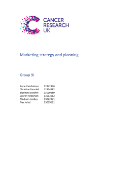 Cancer Research UK Marketing Strategy Report