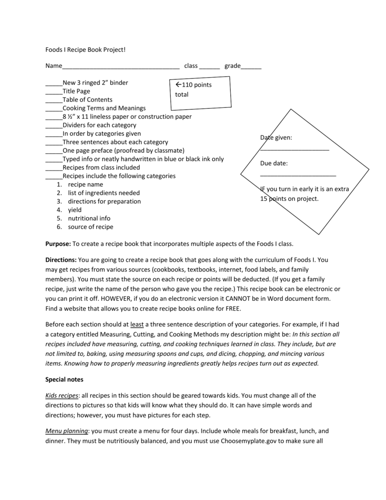 Foods i recipe book project forumfinder Choice Image