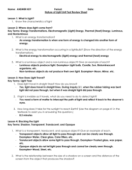 Nature of Light Review Sheet Answer Key