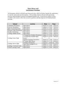 Open House and Orientation Schedule - Carthage R