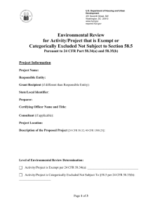 Environmental Review for Activity/Project that is