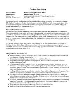 Partner Relations Officer - MN Philanthropy Partners