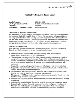 Protective Security Team Lead