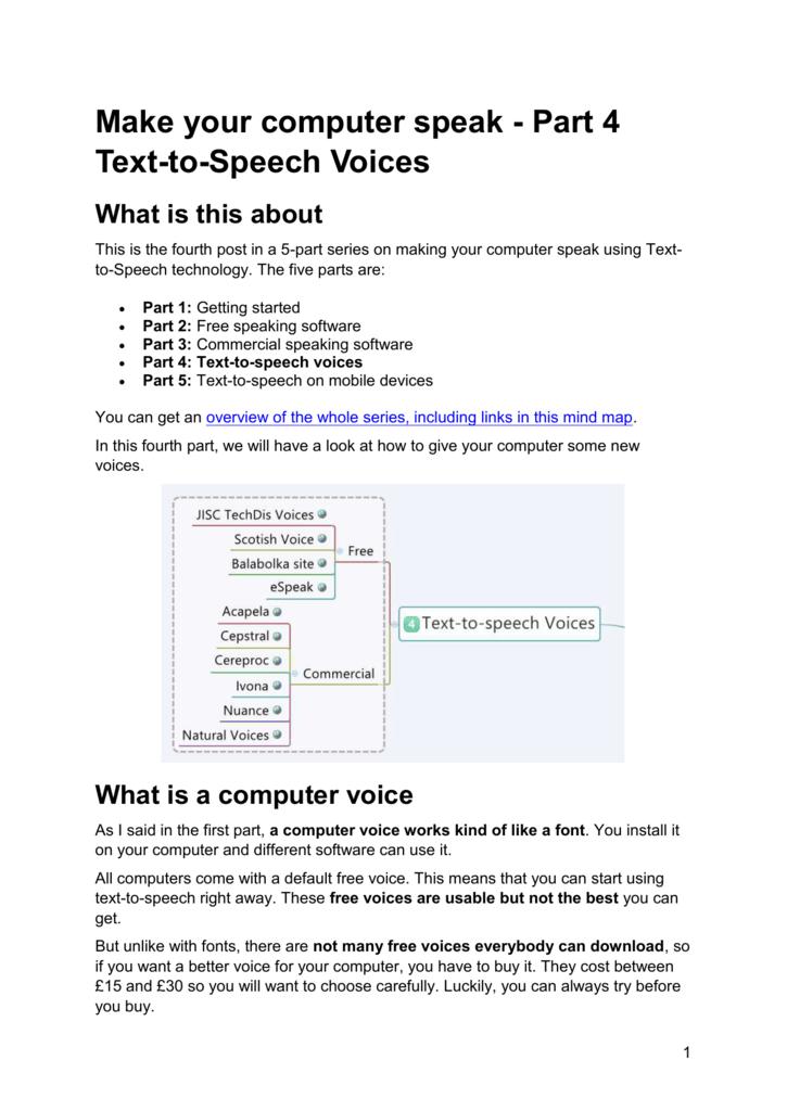 Make your computer speak - Part 4 Text-to-Speech