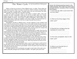 water cycle wporksheet