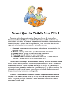 Second Quarter T1dbits from Title 1