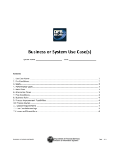 Business or System Use Case