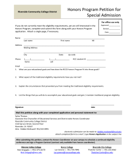 Honors Program Petition for Special Admission