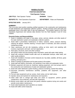 Riviera Utilities Position Description Field Operator Trainee RIVIERA