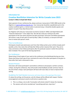 Creative Nonfiction Intensive for Write Canada