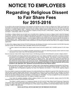 2015-2016 Notice to Employees Regarding Religious Dissent to