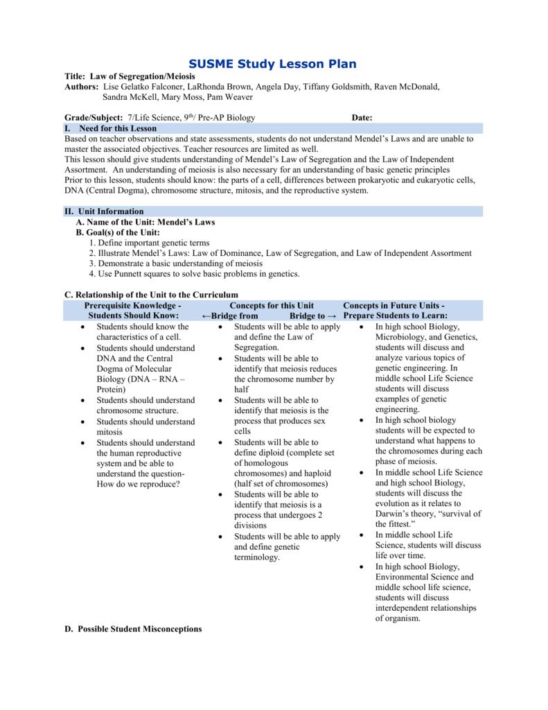 Law of Segregation/Meiosis Lesson Plan