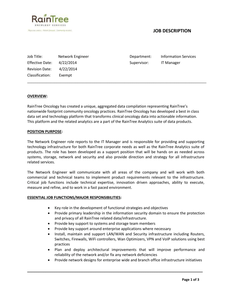 infrastructure manager job description job objective in resume