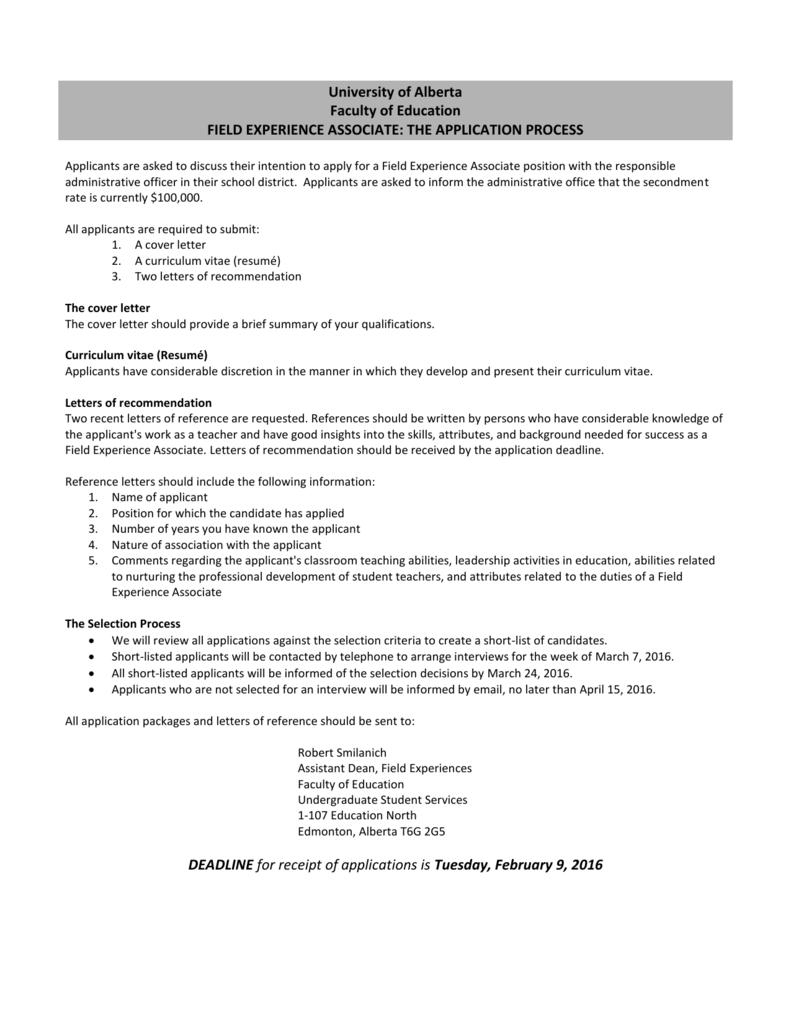 University Of Alberta Faculty Of Education Field Experience