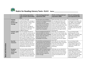 Reading Literary Texts Rubric