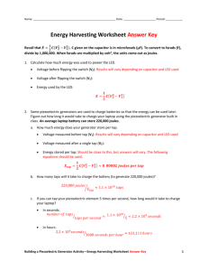 Energy Harvesting Worksheet Answer Key