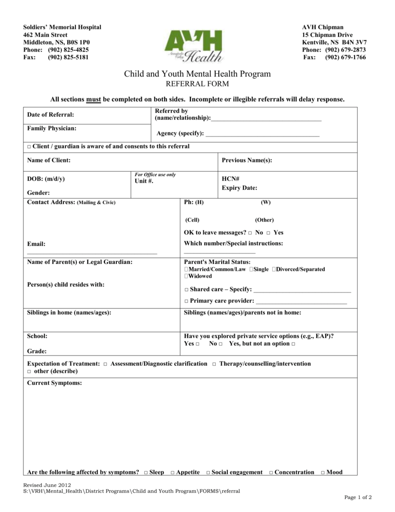 AVH Child and Youth Mental Health Referral Form