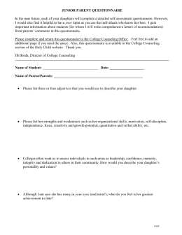 JUNIOR PARENT QUESTIONNAIRE