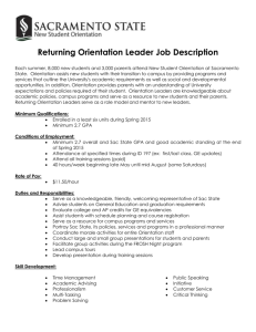 Returning Orientation Leader Job Description