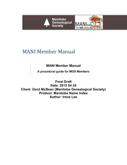 MANI Member Manual - Manitoba Genealogical Society