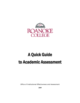 Quick Guide to Academic Assessment
