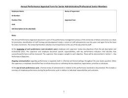 Performance Appraisal Form for Senior Administrative Staff