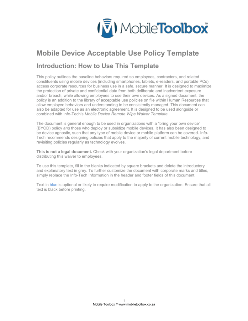 Mobile Device Acceptable Use Policy Template