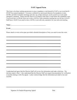 Fish Camp Appeal Application