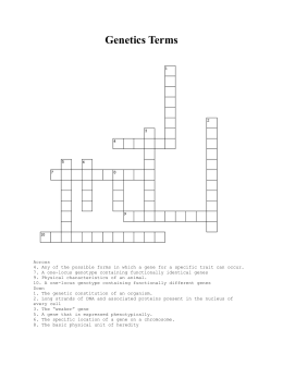 Genetics crossword