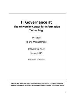 IT Governance at The University Center for Information Technology