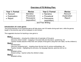 Whole school 2 year plan for Writing