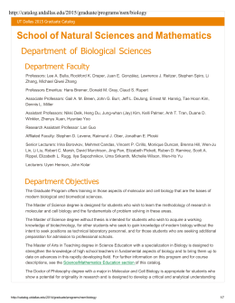 Department of Biological Sciences - The University of Texas at Dallas