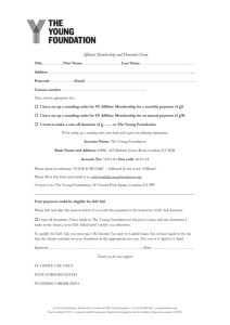 YF Affiliate membership donation form