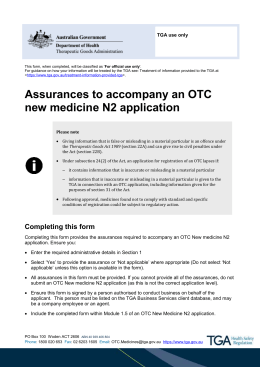 Assurances to accompany an OTC new medicine N2 application