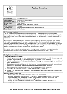 Position Description - Central Bayside Community Health Services
