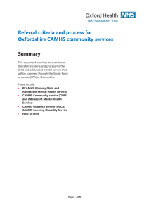 referral criteria for Oxfordshire CAMHS