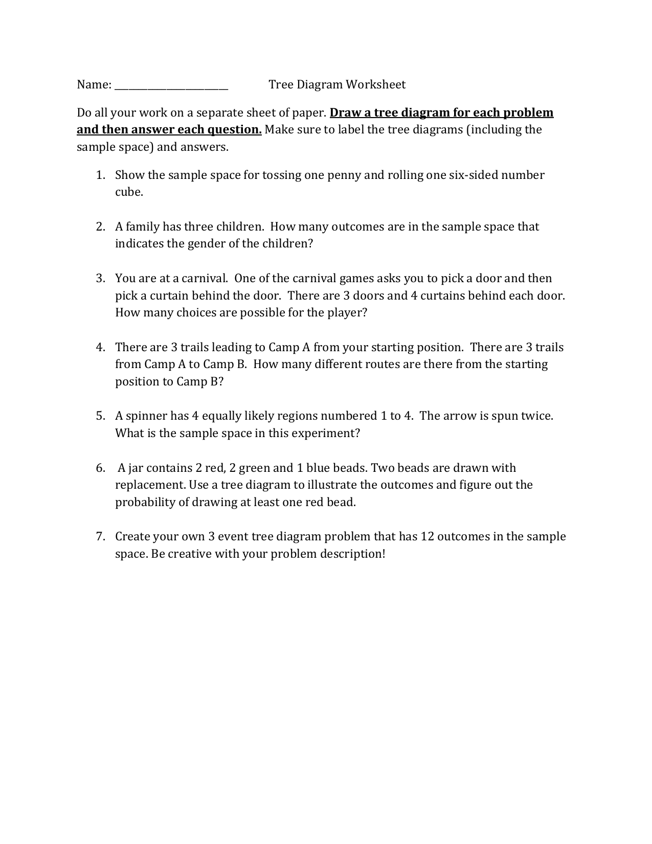 worksheet Tree Diagrams Worksheet name tree diagram worksheet do all your work on a separate