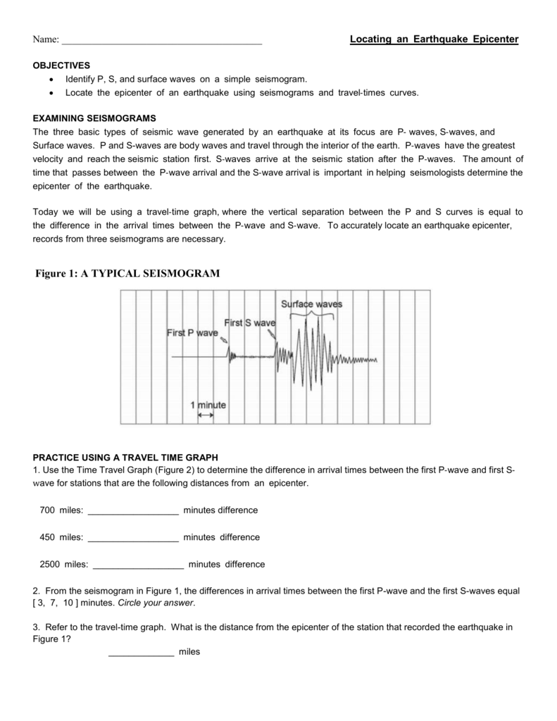 Earthquakes Goal  Homework  Locate the Epicenter of an ...