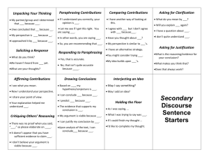 Secondary Discourse Sentence Starters