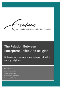 To investigate the relation between entrepreneurship and religion