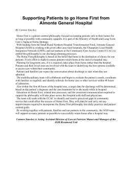 Supporting patients to go Home First from Almonte General Hospital