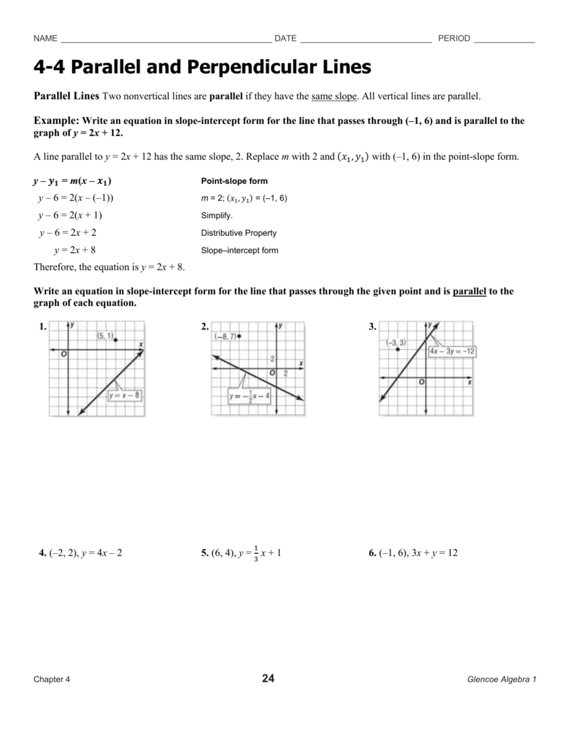 Worksheets Slope Of Parallel And Perpendicular Lines Worksheet 4 parallel and perpendicular lines