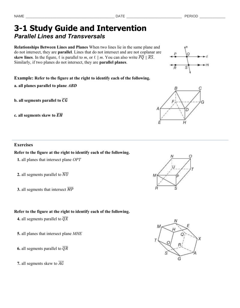Quiz   Worksheet   Lines   Planes in Space   Study besides Points  Lines and Planes Worksheets moreover Parallel lines and transversals Worksheets besides 3 1 Study Guide likewise Word problems based on points  lines  and planes    Geometry additionally 1 3 Worksheet  2 Skew Lines and Parallel Planes further Parallel and Perpendicular LInes   Systry additionally  additionally Quiz   Worksheet   Skew Lines in Geometry   Study as well 1 4 Practice  Segments  Rays  Parallel Lines  and Planes Worksheet also Points  Lines  and Planes likewise Proofs About Line Segments And Angles Worksheet Answers Worksheets also  moreover Warm Up 2 1 13 Describe any points  lines and planes you see in this further Plane Geometry Worksheets Clifying Triangles Points Lines And additionally Parallel lines and transversals Worksheets. on parallel lines and planes worksheet
